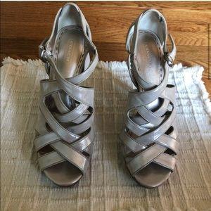 Coach Cream Shimmer Strappy Platform Heels Sz 8.5